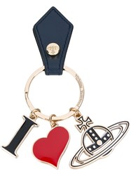 Vivienne Westwood 'I Heart' Logo Keyring Unisex Leather Metal One Size Blue