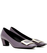 Roger Vivier Decollete Belle Patent Leather Pumps Purple