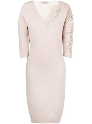 D.Exterior Floral Embroidered Dress Nude And Neutrals