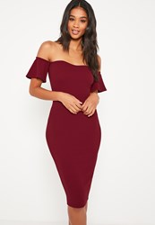 Missguided Burgundy Bardot Bodycon Midi Dress
