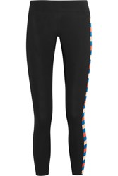 P.E Nation Power Play Striped Stretch Jersey Leggings Black