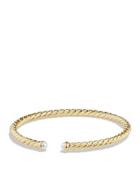 David Yurman Cable Classics Spira Bracelet With Pearls In 18K Gold White Gold