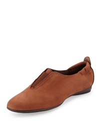 Sesto Meucci Adena Nubuck Leather Stretch Flat Tan