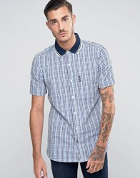 Lambretta Shirt In Gingham With Short Sleeves Blue