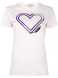 Carven Heart Logo T Shirt Pink Purple