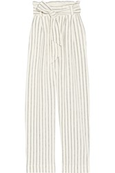 By Malene Birger Ginas Striped Cotton Terry Wide Leg Pants Off White