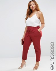 Asos Curve Cigarette Trouser In Crepe Dusky Plum Purple