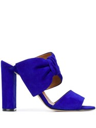 Paris Texas High Heeled Mules Blue
