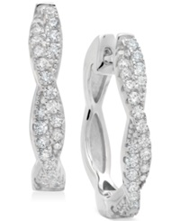 Crislu Platinum Over Sterling Silver Cubic Zirconia Twist Huggie Hoop Earrings