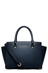 Michael Michael Kors 'Medium Selma' Leather Satchel Blue Navy