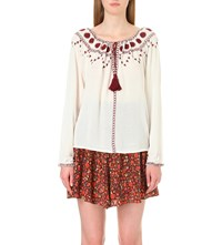 The Kooples Embroidered Woven Top Ecru Bordeaux