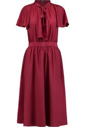 Raoul Raffaella Pussy Bow Gathered Crepe Dress Burgundy