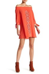 Want And Need 3 4 Length Sleeve Off The Shoulder Embroidered Dress Orange