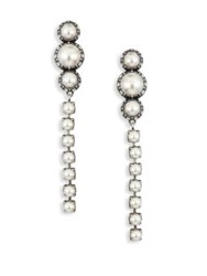 Lanvin Long Faux Pearl And Crystal Clip On Earrings