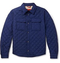 Isaia Quilted Printed Shell Jacket Navy