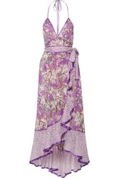 Marc Jacobs Ruffled Printed Cotton And Silk Blend Halterneck Dress Lilac