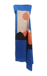 Roksanda Ilincic Nakato Silk Satin Maxi Dress Blue