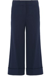 Michael Kors Collection Cropped Wool Blend Wide Leg Pants Navy
