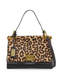 Badgley Mischka Chantel Wild Leather Shoulder Bag Leopard