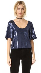 Free People Night Fever Sequin Tee Navy