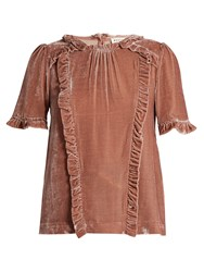 Masscob Ruffle Trimmed Short Sleeved Velvet Top Light Pink