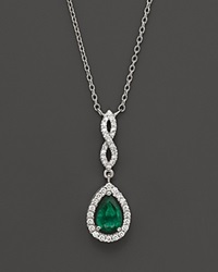 Bloomingdale's Emerald And Diamond Open Weave Pear Shaped Pendant In 14K White Gold Multi