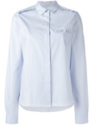 Chinti And Parker Frilled Detail Oxford Shirt Blue