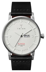 Men's Triwa 'Klinga' Leather Strap Watch 38Mm Black White