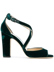 Jimmy Choo Carrie 100 Sandals Women Leather Suede 37 Green