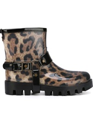Dolce And Gabbana Leopard Print Rain Boots Brown