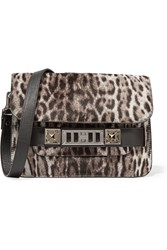 Proenza Schouler Leopard Print Calf Hair And Leather Shoulder Bag Animal Print