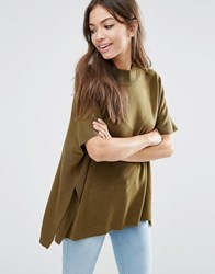 Jdy High Neck Top In Olive Olive Green