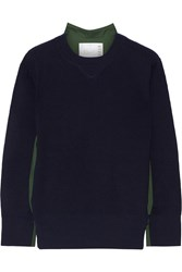 Sacai Poplin Paneled Wool Sweater Midnight Blue