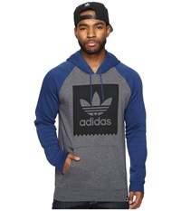 Adidas Blackbird Raglan Hoodie Dark Grey Heather Mystery Blue Men's Sweatshirt Gray