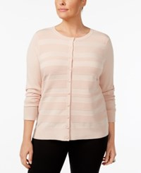Charter Club Plus Size Striped Cardigan Only At Macy's Ballet Pink