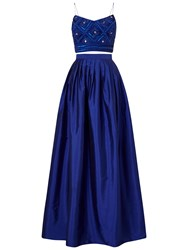 Adrianna Papell Two Piece Top With Taffeta Skirt Gown Neptune