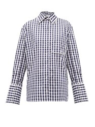 J.W.Anderson Jw Anderson Scarf Collar Gingham Cotton Shirt Blue White