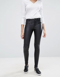 Only Natalie Rock Coated Waxed Jeans Black