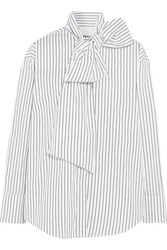 Msgm Pussy Bow Striped Cotton Poplin Shirt White
