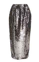 Sally Lapointe Stretch Sequin Pencil Skirt Silver