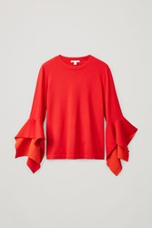 Cos Draped Sleeve Top Red