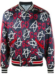 Guccighost Star Bomber Jacket Blue