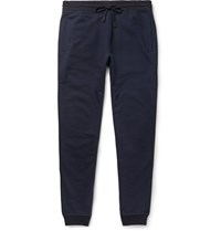 Berluti Tapered Leather Trimmed Cotton And Cashmere Blend Sweatpants Navy