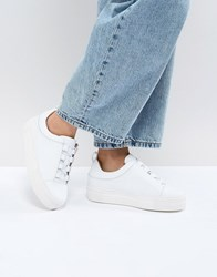 Selected Leather Platform Trainer White
