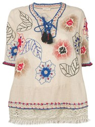 Anjuna Floral Embroidered Tunic Neutrals