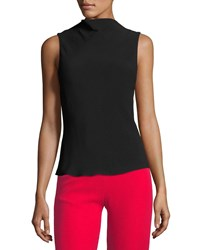 Brandon Maxwell Cowl Neck Crepe Blouse Black