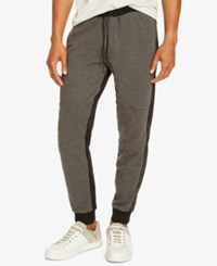 Kenneth Cole Reaction Men's Mixed Media Jogger Pants Charcoal Heather