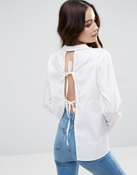 Asos Open Back Shirt With Tie Back White