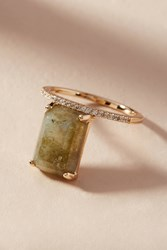 Melanie Auld Gemstone Rectangle Ring Green