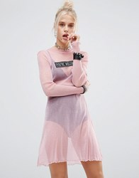The Ragged Priest Glitter Mesh Dress Pink